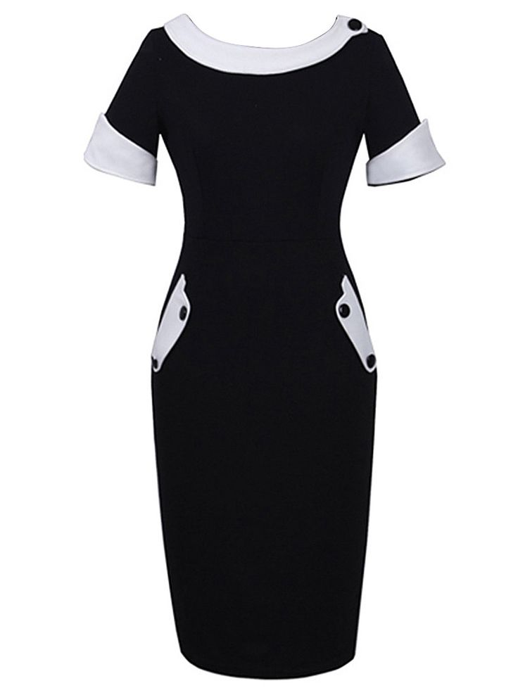 Black Round Neck Short Sleeve Bodycon Dress: