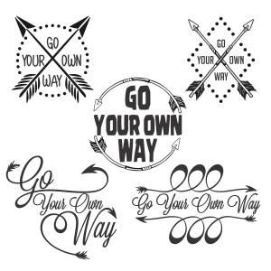 Go Your Own Way - Saying Quotes - Cuttable Design Cut File. Vector, Clipart, Digital Scrapbooking Download, Available in JPEG, PDF, EPS, DXF and SVG. Works with Cricut, Design Space, Sure Cuts A Lot, Make the Cut!, Inkscape, CorelDraw, Adobe Illustrator, Silhouette Cameo, Brother ScanNCut and other compatible software.