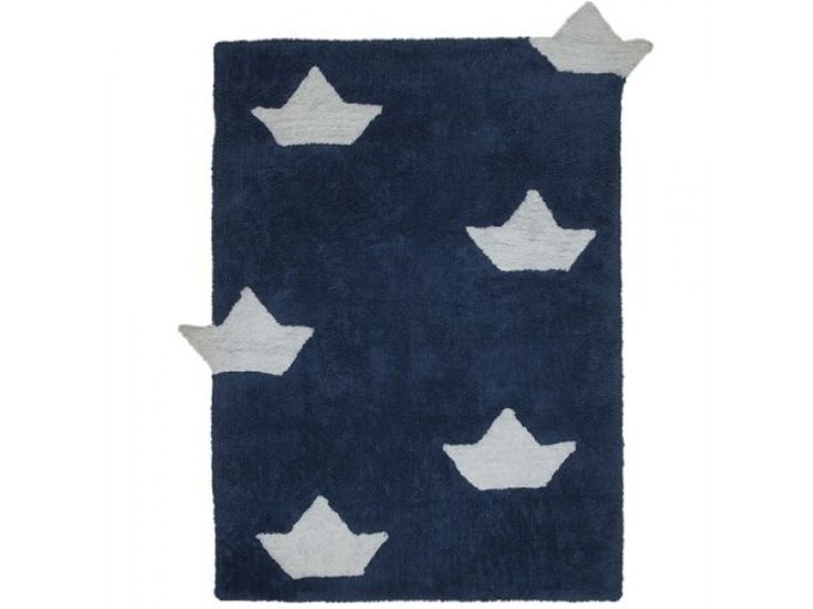 tapis chambre enfant bleu marine bateaux blancs 100 coton lavable en machine dimensions
