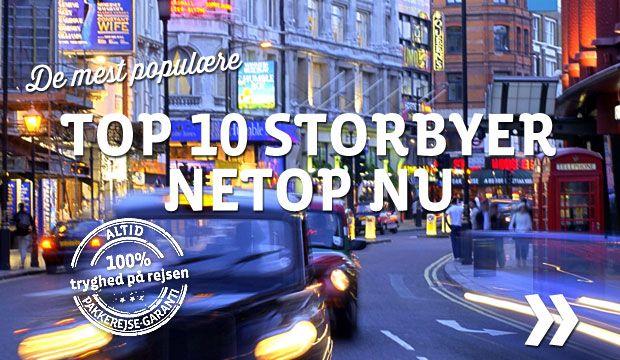 Top 10 mest populære storbyer netop nu! Vi sælger rigtig mange storbyferier netop nu. Her ser du en top 10 af de mest populære storbyer der sælges netop nu. Her kan du se top-10 listen: http://storbyferie.apollorejser.dk/subpages/storbyferie-top-10.aspx