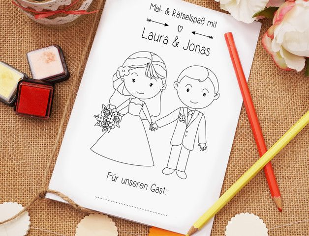 Malbuch für Kinder zur Hochzeit, Gastgeschenk, Spielzeug / kids coloring book as wedding gift, toy made by Love Grows via DaWanda.com