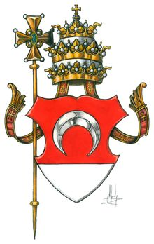 Avignon Papacy - The coat of arms of Benedict XIII displayed the papal tiara and cross. During this period, papal heraldry varied greatly and the crossed keys had not yet fully developed as a symbol of the papacy.