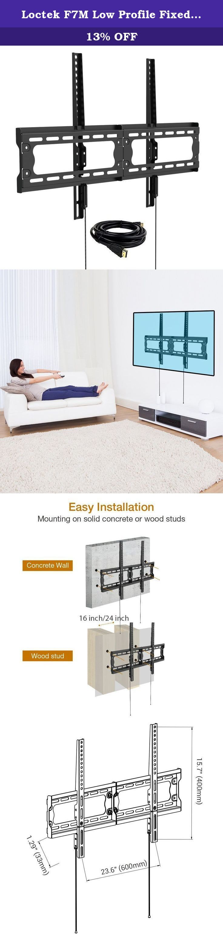"""Loctek F7M Low Profile Fixed TV Wall Mount Bracket with VESA patterns up to 600 x 400 and max.165lbs loading capacity for 32-65 inch LCD LED Plasma TVs. Description: This Loctek super low profile fixed slim TV mount bracket attach nearly flush to the wall to maximize the sleek, thinness of LED TVs which make TVs like a picture hanging on the wall; this mount can hold a TV with flat screen between 32"""" and 65"""" with max 600*400 VESA compatibility and max.165lbs loading capacity. Features:..."""
