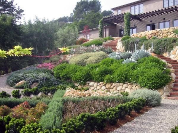 40 Awesome Garden Landscaping Ideas Slope And Tips Sloped Garden Sloped Backyard Landscaping Landscaping A Slope