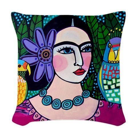 Frida Kahlo Pillow arte popular mexicano por HeatherGallerArt                                                                                                                                                                                 Más