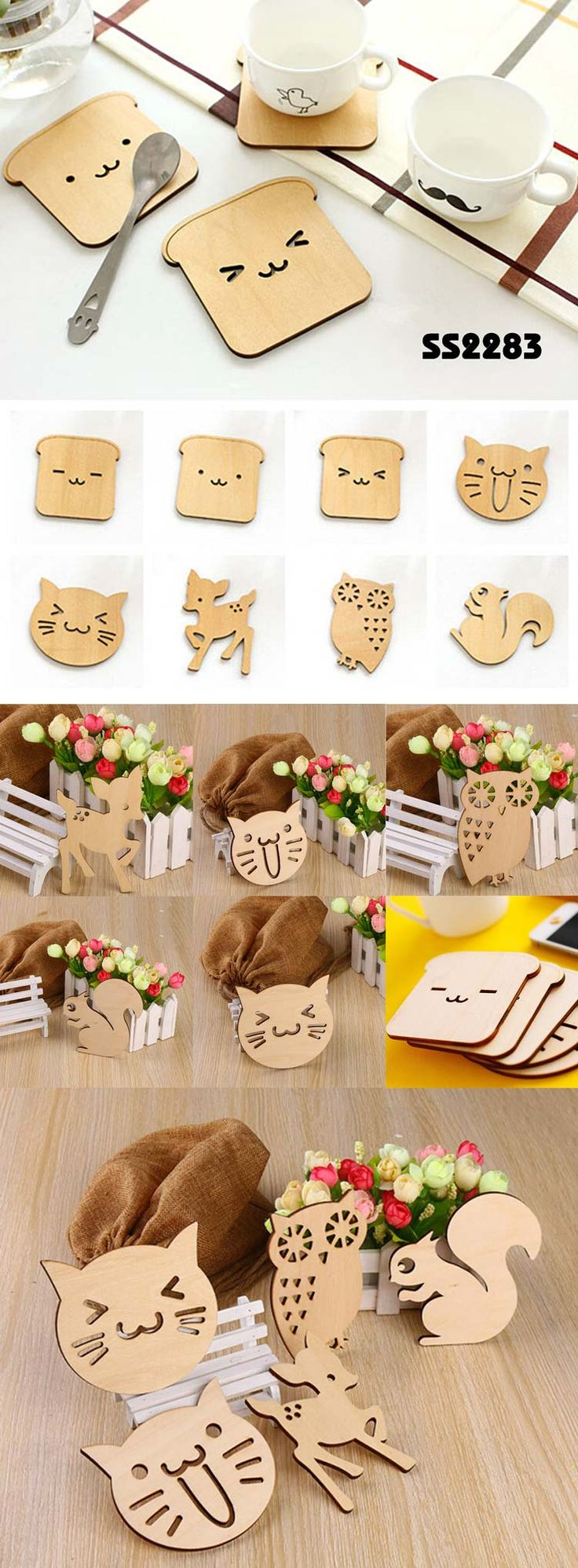 Creative Cartoon wooden coasters | Funny animal coasters  Description:        ● Material: Basswood    ● Size:owl size:11.8*7.8CM,dog size:8.7*9.8CM;    ● Big logo printing area    ● OEM design is welcome