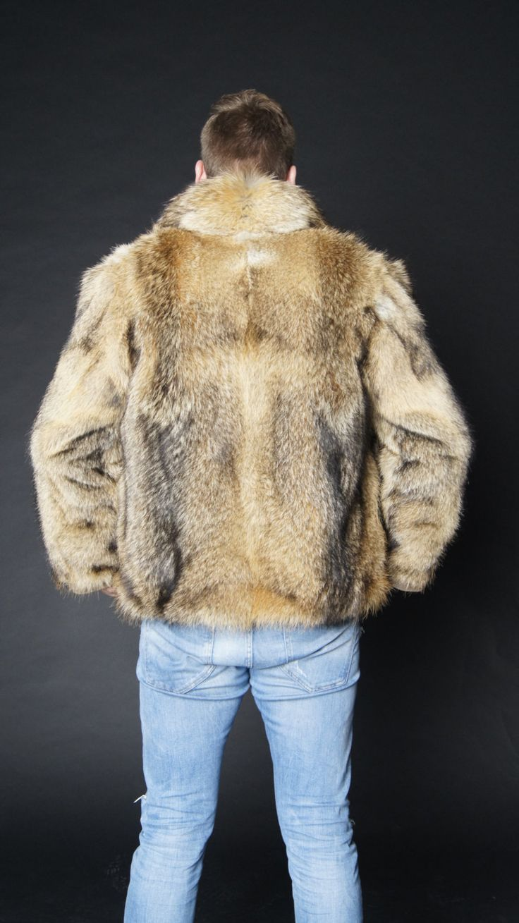 Brand new natural coyote fur jacket coat Mens jacket by EGFURS