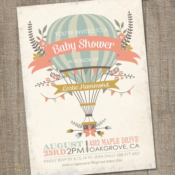 Antique, Hot Air Balloon Invitation, PRINTABLE, Hot Air Balloon Baby Shower, Hot Air Balloon Invite by partymonkey on Etsy https://www.etsy.com/listing/194663729/antique-hot-air-balloon-invitation