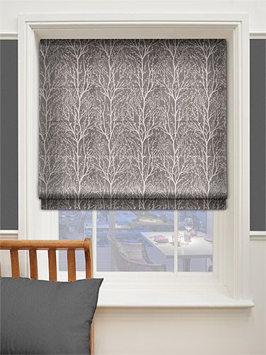 Sissinghurst Dark Grey Roman Blind from Blinds 2go - middle window £104.21