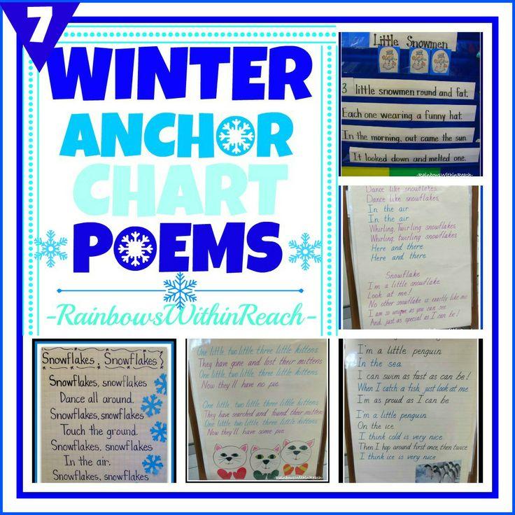 Winter Poem Rhyme Anchor Charts via RainbowsWithinReach