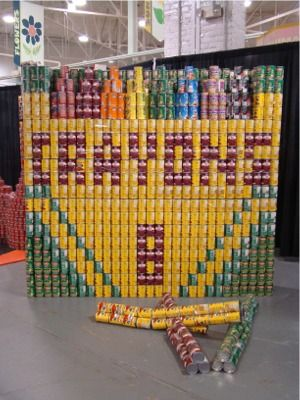 Amazing!!  Who can build the best canned food statue?