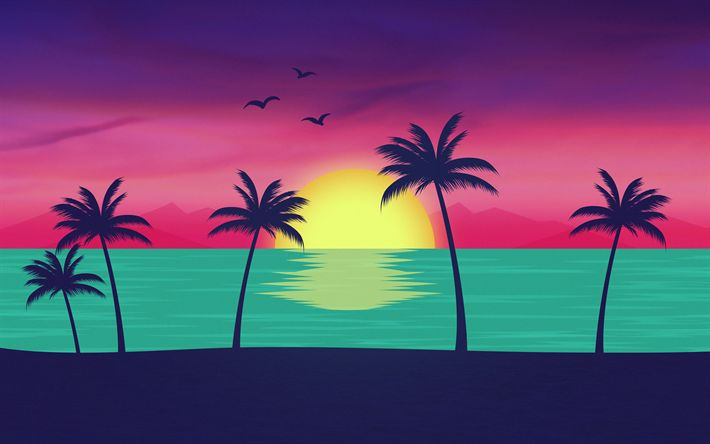 Download wallpapers beach, 4k, sunset, palms, creative, material design, abstract material