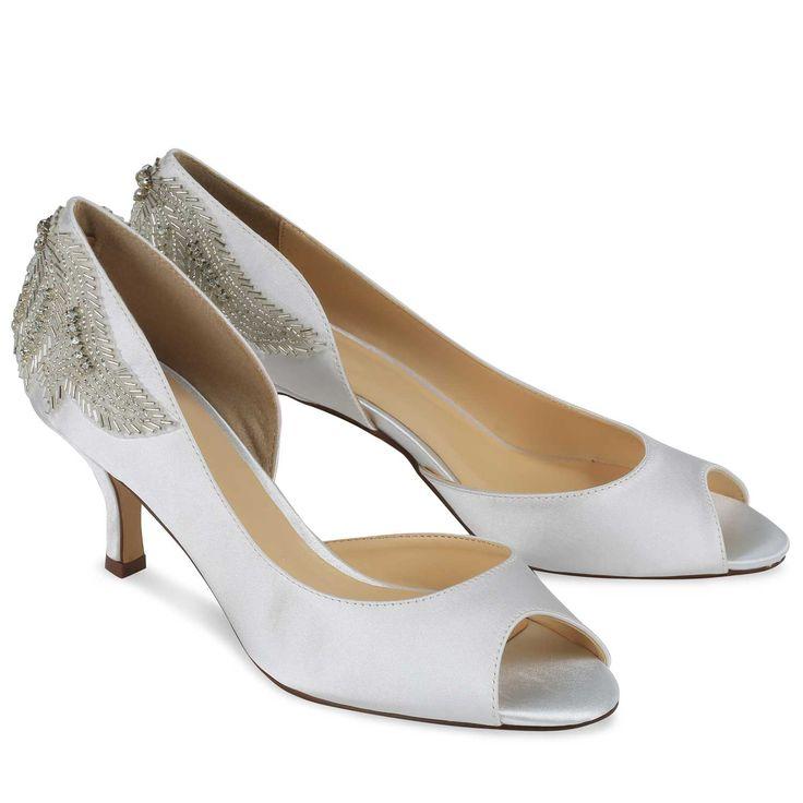 Chaussure de mariage satin ivoire à bout ouvert et petit talon Finery - Pink par Paradox