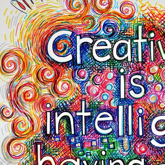 Classroom Wall Decor ~ Brightly colored art print quot creativity is intelligence