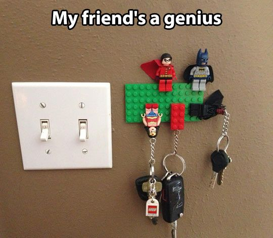 Lego key holder… it's supposed to be a joke but it's kind of genius - paint the lego plate the same color as the wall if you don't want it to stand out so much!