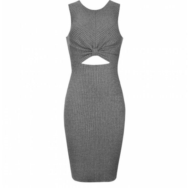 Ally Fashion Rib knot cut out waist midi dress ($28) ❤ liked on Polyvore featuring dresses, vestidos, grey marle, cutout dress, gray dress, grey cocktail dress, ribbed midi dress and ribbed dress