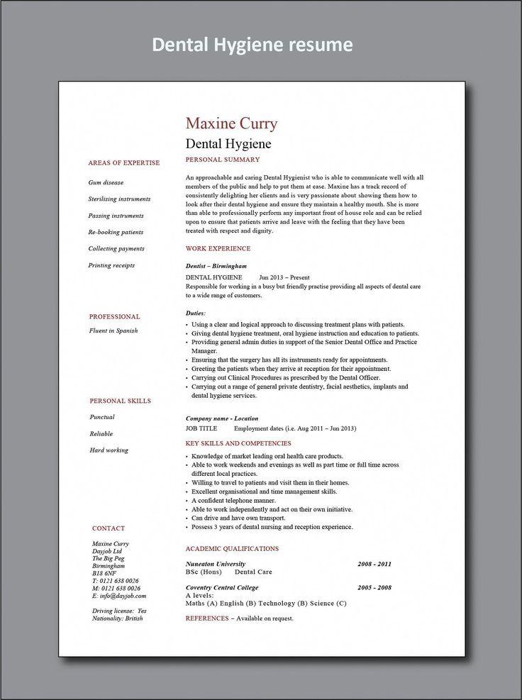 Dental Hygiene resume example, CV, Hygienist, healthcare
