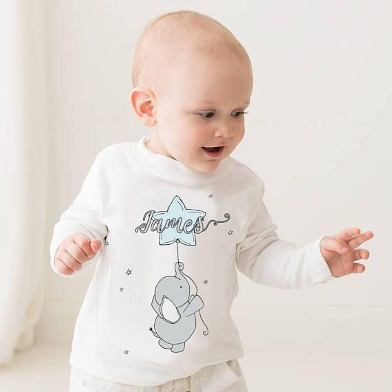 Baby elephant personalised T-shirt  long sleeved top long