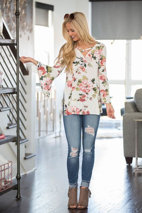 Somewhere In My Dreams Floral Blouse Ivory - The Pink Lily