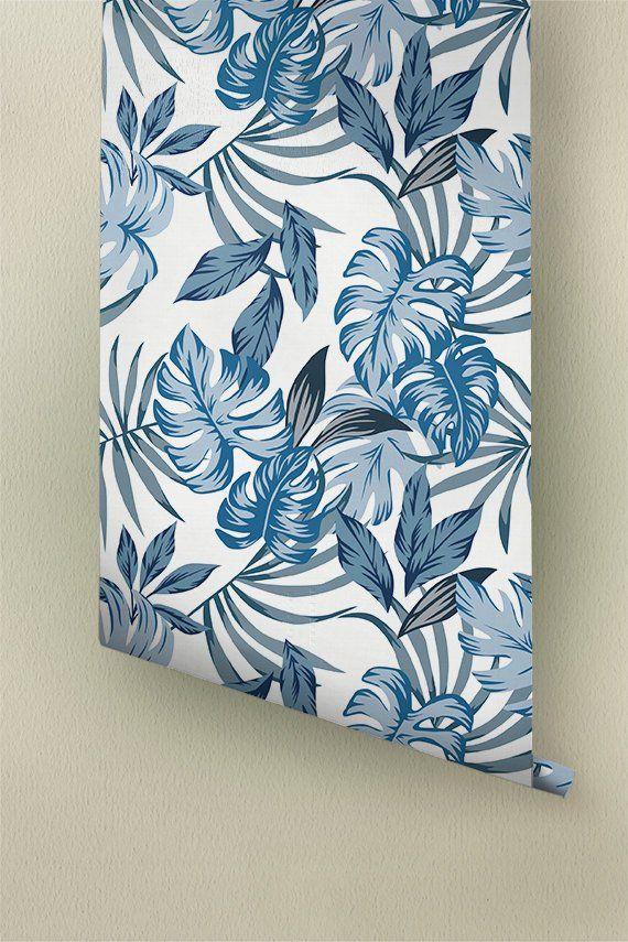 Blue Monstera Leaves Wallpaper Palm Areca Removable Etsy Leaf Wallpaper Monstera Leaf Vinyl Wallpaper