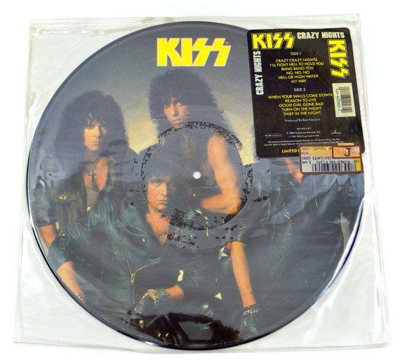 Vintage 80s KISS Crazy Nights Album Picture Disc Record Vinyl LP by DopedollVintage, $30.00