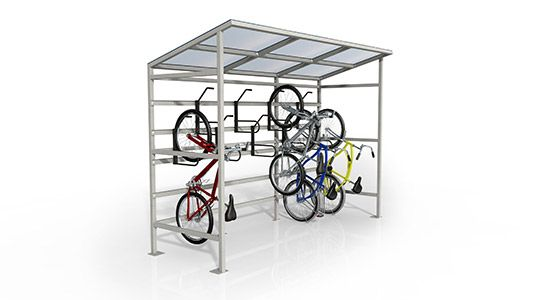 Hitching post is a mix bicycle rack & bollard perfect for walkways & other narrow areas.   http://velodomeshelters.com