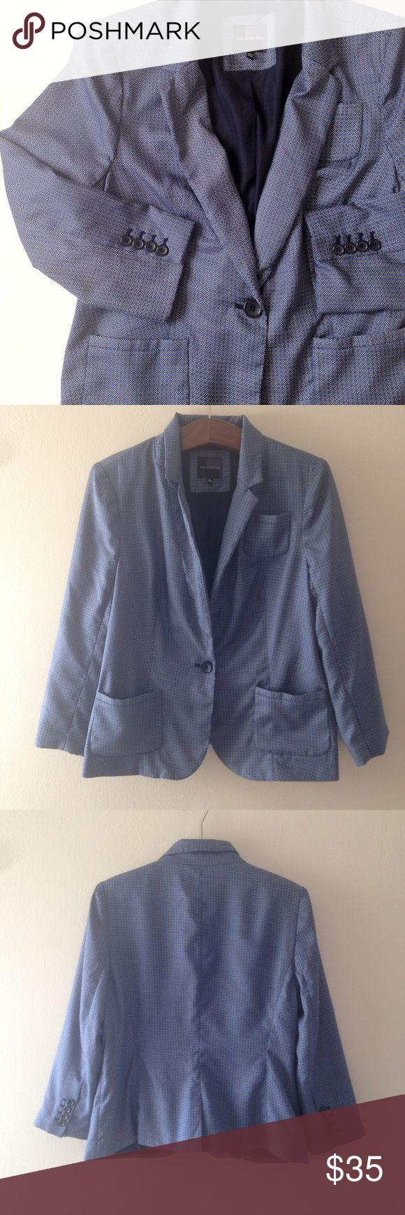 The Limited Geo Print Blazer Geo print blazer from The Limited. Size: L. Color: Blue, black, white. Shoulders are slightly padded. Three pockets. Light blazer, 100% polyester. The Limited Jackets & Coats Blazers