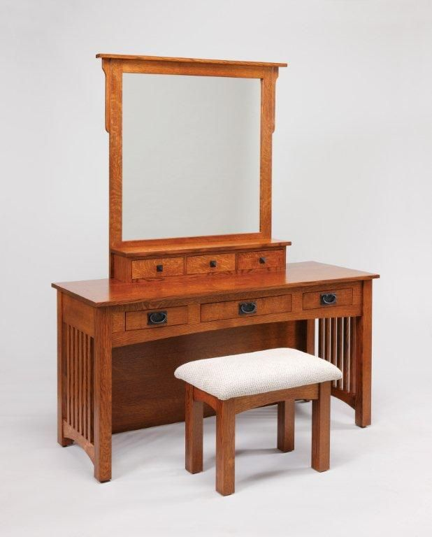 Amish Upholstered Mission Vanity Stool   Hmmm what are your thoughts?