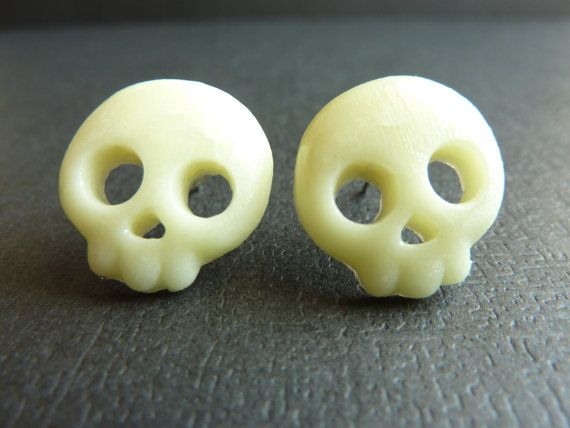 Glow In The Dark Skull Earrings, Halloween Skull Earrings, Skeleton Earrings, Polymer Clay Cabochon Studs on Nickel Free Posts, Skull Posts