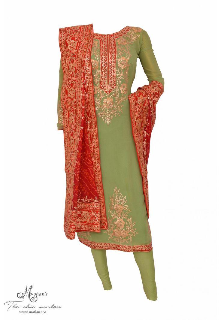 Appealing pista green suit adorn in gota work and jaipuri dupatta