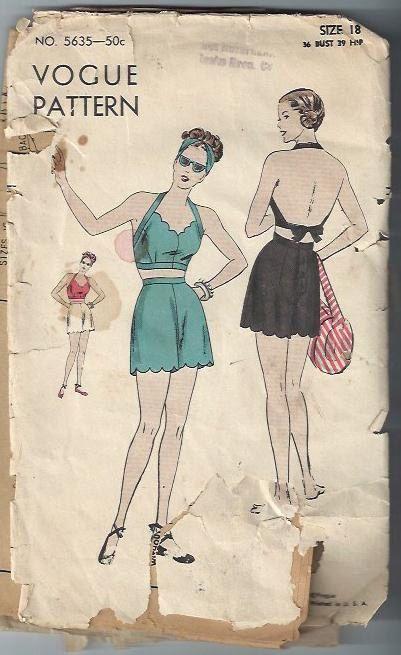 RARISSIMO 1940 Vogue 5635 Halter & Shorts o costume da bagno modello, dimensione 18 completo di DawnsDesignBoutique su Etsy https://www.etsy.com/it/listing/180636640/rarissimo-1940-vogue-5635-halter-shorts