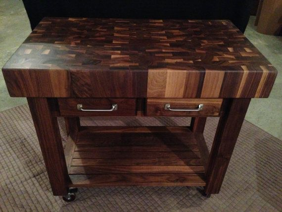 Black Walnut End Grain Butcher Block Cart by MagnoliaWoodWorks, Cutting Board, Wood Counter top idea