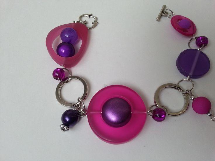 """""""Bracelet asymétrique rose fuchsia et violet"""", """"Bracelet unique"""", : Bracelet par bijouxlibellule"""