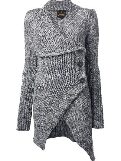 Grey sweater | VIVIENNE WESTWOOD I could loom knit this in 5 pieces, long loom, flat knit 2 rectangles for the front, a wider rectangle for the back and use child hat or infant hat loom for the arms, and its easy to loom knit a button hole. Cozy! And maybe add a hood!