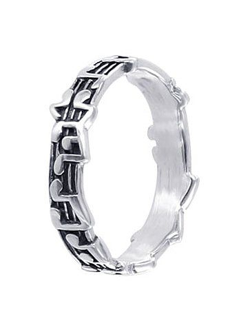 Sterling Silver 5mm Musical Notes Band Ring Size 5, 6, 7, 8, 9 - Listing price: $33.99 Now: $16.99