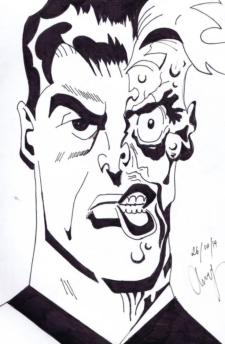 Two Face - By Anthony Keutzer #FanArt #Batman #TwoFace #Ink #Sketch #HalfFace