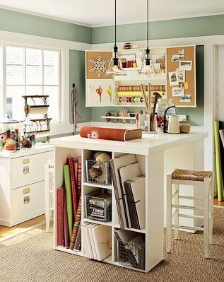 I wish I had a craft room!!: Crafts Rooms, Crafts Spaces, Workspace, Desks, Rooms Ideas, Crafts Tables, Sewing Rooms, Pottery Barns, Craft Rooms