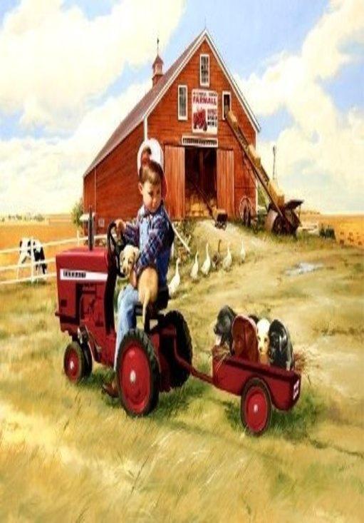 Farmall Tractor Ad On The Barn Tractor Clipart