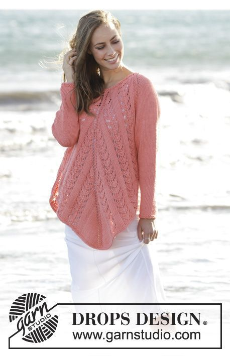 Peach Ballet - Knitted tunic with lace pattern, worked top down in DROPS Paris. Free pattern by DROPS Design