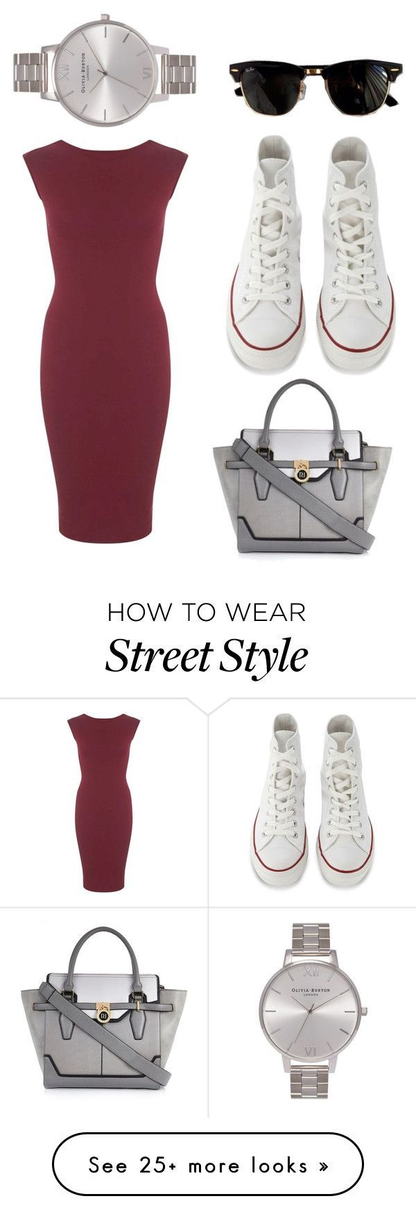 """street style 3"" by athinakpebor on Polyvore featuring Converse, Miss Selfridge, River Island, Olivia Burton and Ray-Ban"