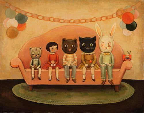 "Emily Winfield Martin: Costume Party, 14""x11"", Acrylic on wood"
