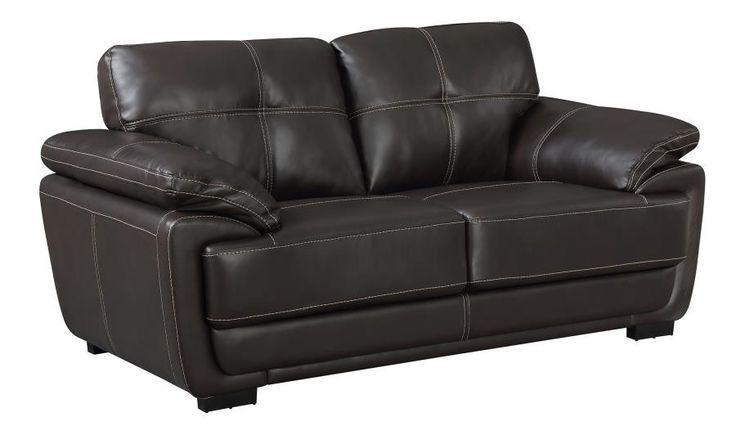 Zenon loveseat leatherette dark brown CO-551102