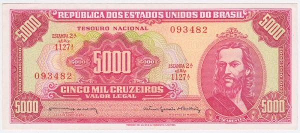 Brasil cédula de 5000 cruzeiros, retratando o Tiradentes, Reginaldo/Otávio Bulhões, catálogo C-108,
