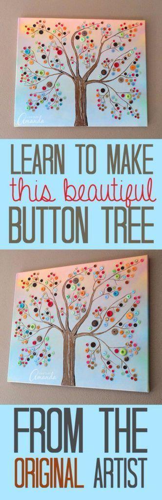 DIY-Projekte und Kunsthandwerk mit Knöpfen – Vivid Button Baum auf Leinwand