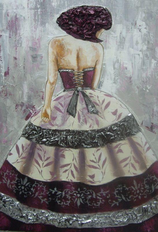 Cuadro dama vestido granate (bacb2016-41)#cuadros#modernos#abstracto#pintura#arte#decoración#color#árbol#vida#flores#menina