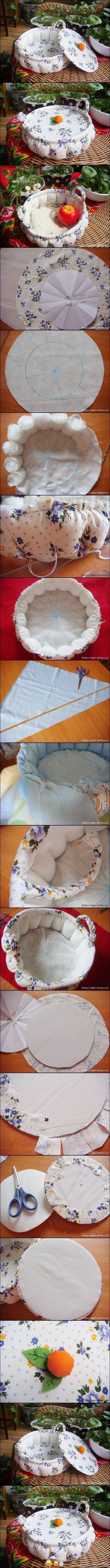 Segmented fabric basket.