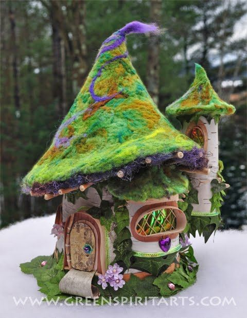 Beautiful felted fairy house