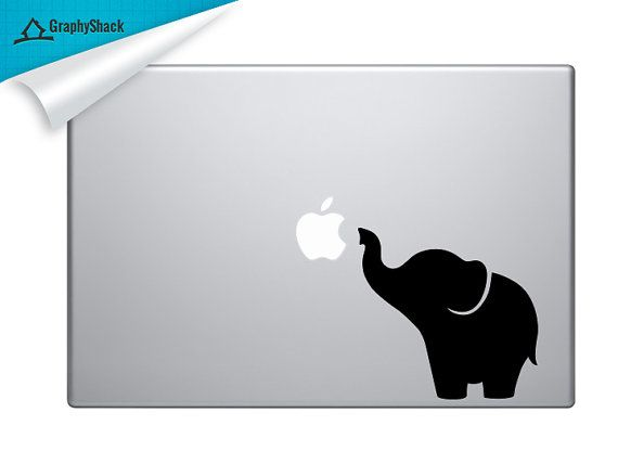 Super Cute Elephant Mac Decal Vinyl Laptop by GraphyShackDecal, $9.96