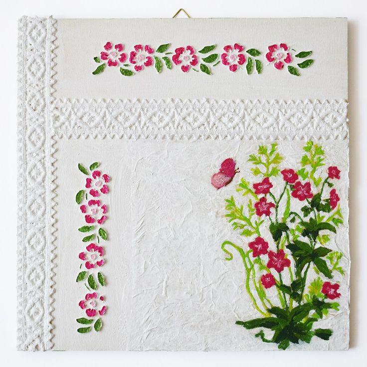 Lace ribbon series – Pink flowers (Szalagos sorozat – Rózsaszín virágok) - 25 x 25 cm, 2017, https://www.vivienholl.com/termek/szalagos-sorozat-rozsaszin-viragok/ #paverpol #napkin #szalvéta #flowers #flower #virágok #virág #lace #szalag #pentart #vivienholl
