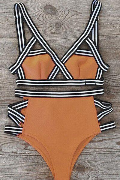 Color Block Bandage Bikini Set FLAXEN: Bikinis | ZAFUL
